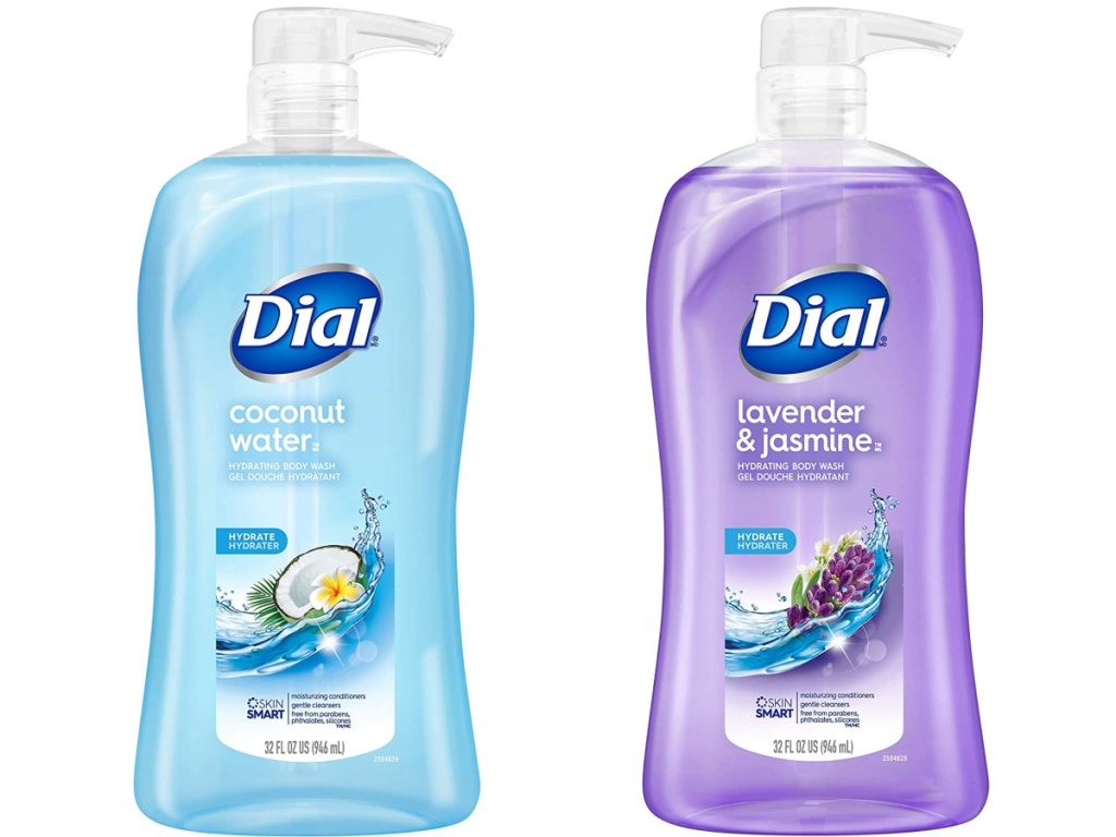 bottle of coconut water body wash and bottle of lavender and jasmine body wash