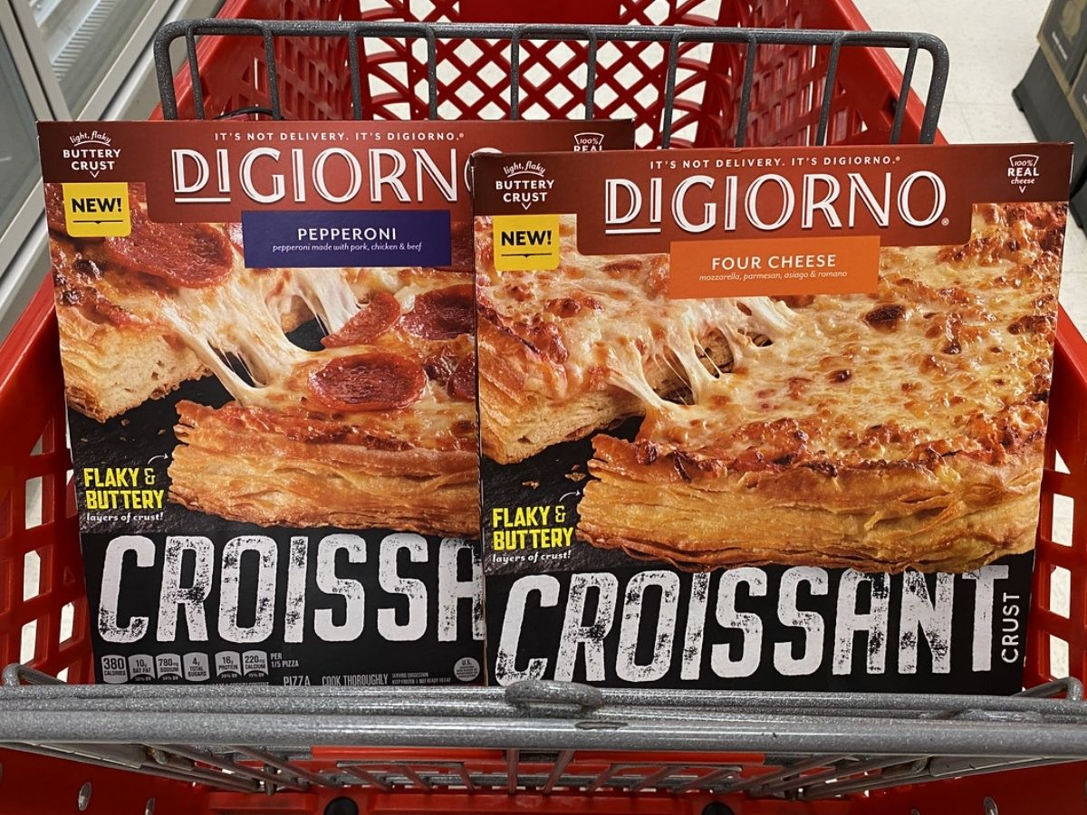 two DiGiorno Croissant Pizzas sitting in a target shopping cart