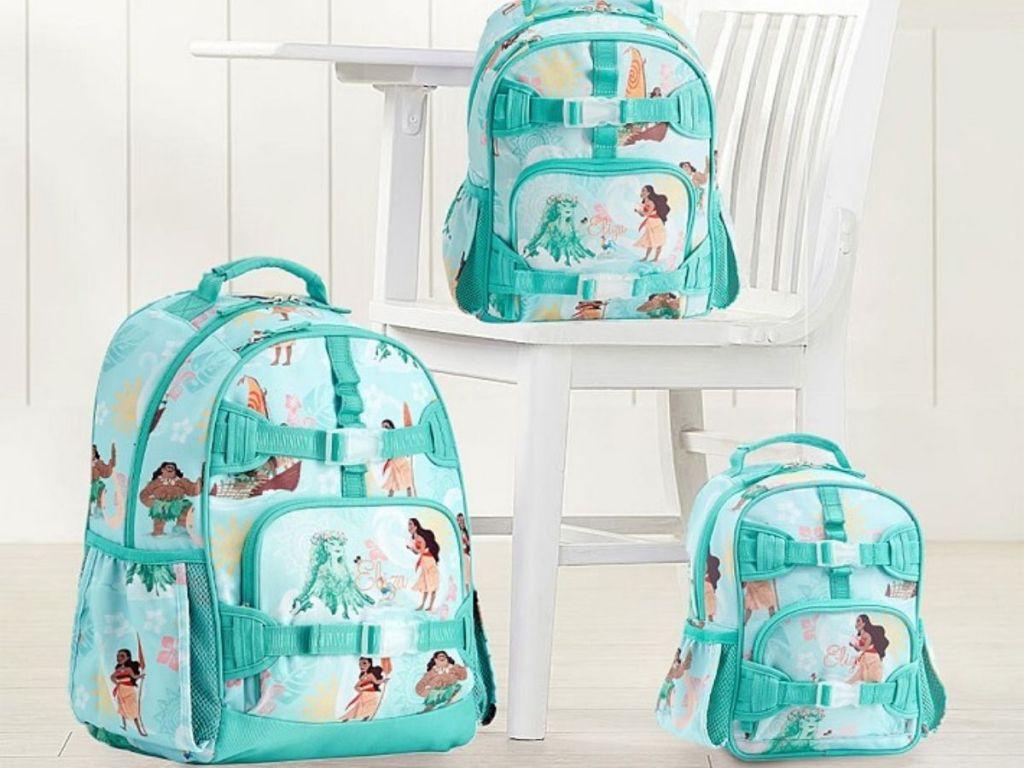 three sizes of backpacks featuring Disney's Moana