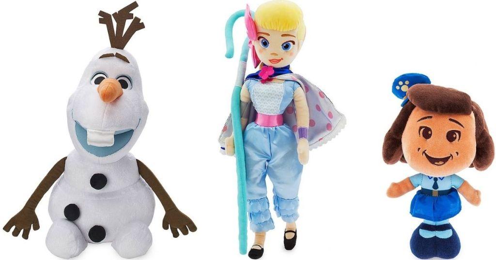 Disney plush Olaf, Bo Peep and Giggles