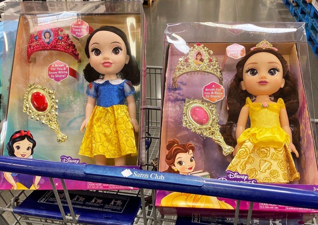 snow white and belle disney princess dolls in sam's club shopping cart