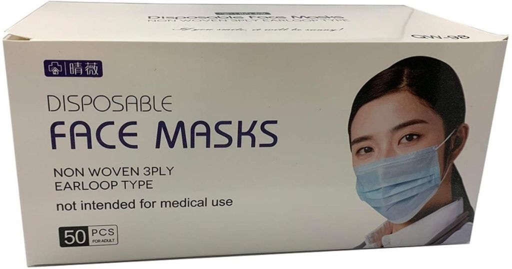 box of 50 disposable blue face masks