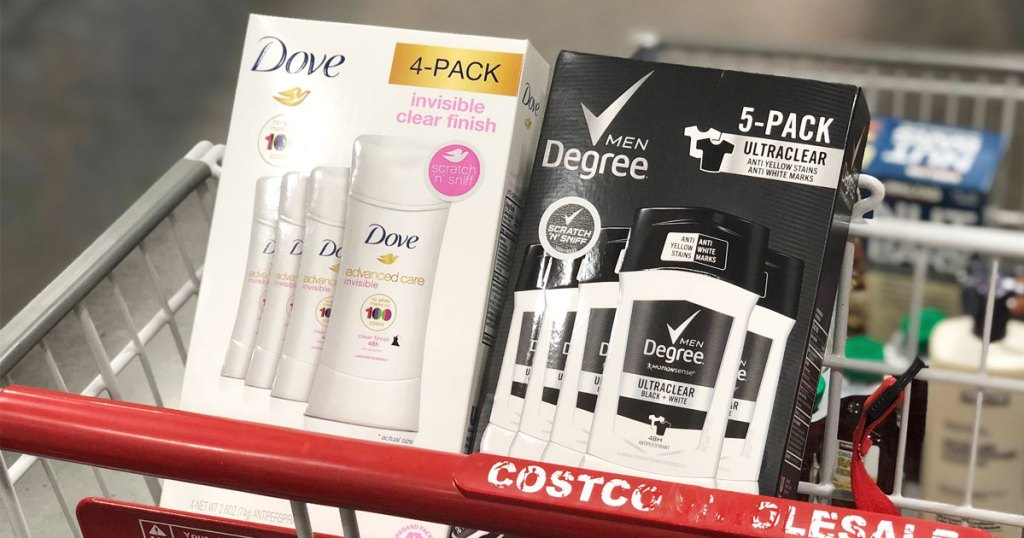 white 4-pack of dove deodorant and black 5-pack of degree men deodorant in child seat portion of costco shopping cart