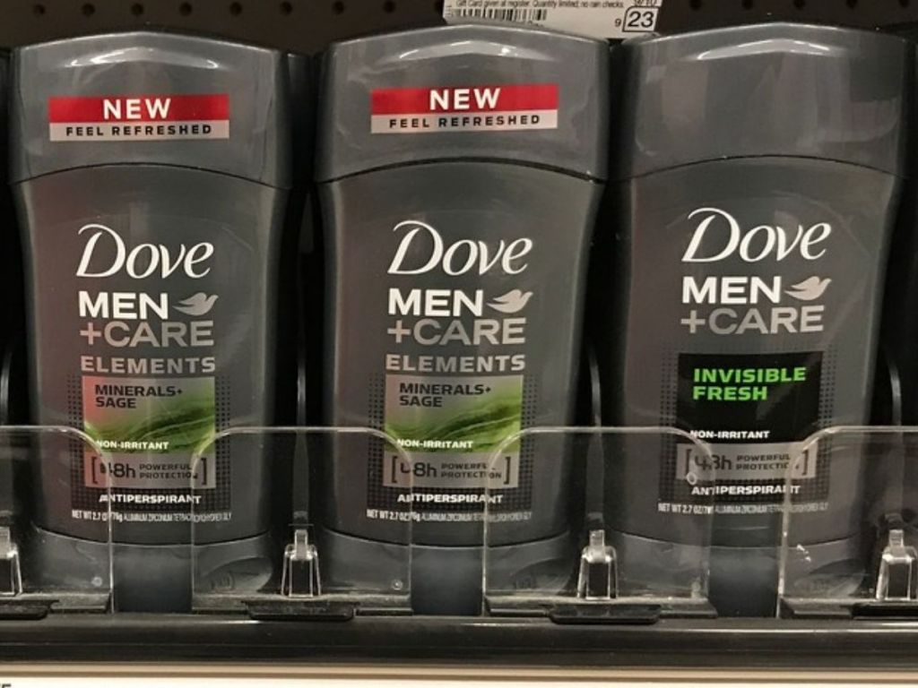 store shelf with Dove Men+Care Deodorant