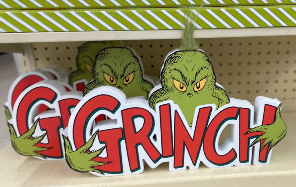 Grinch tabletop decor on store shelf