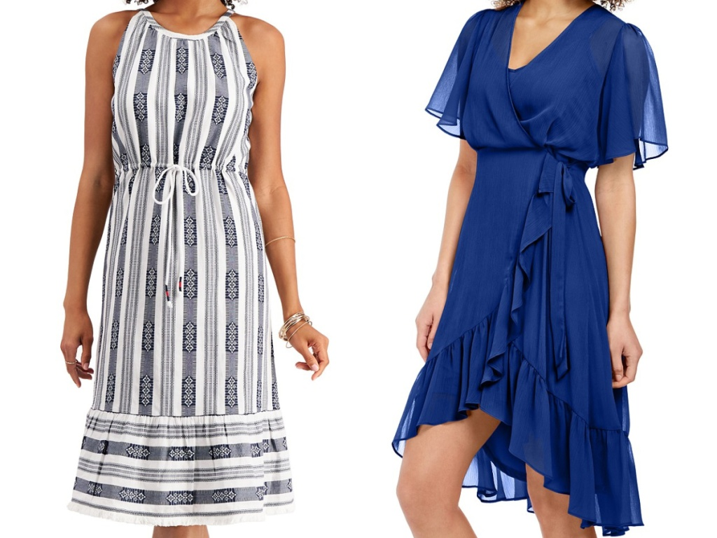 woman in black and white jacquard dress and woman in blue high low dress