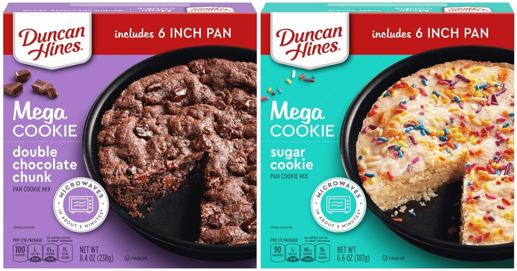 Duncan Hines Cookie Pan Box Mixes. One is chocolate and the other is sugar cookie.