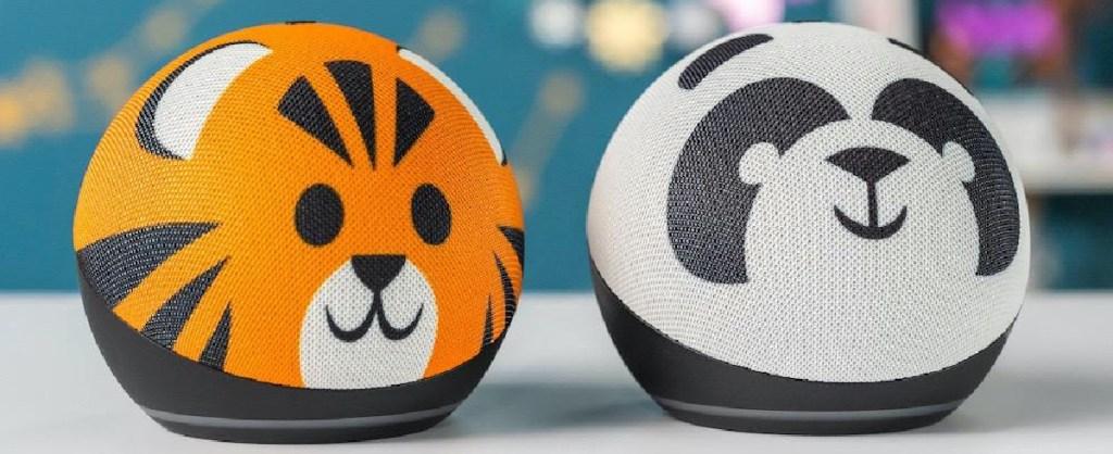 tiger designed smart speaker and panda designed smart speaker
