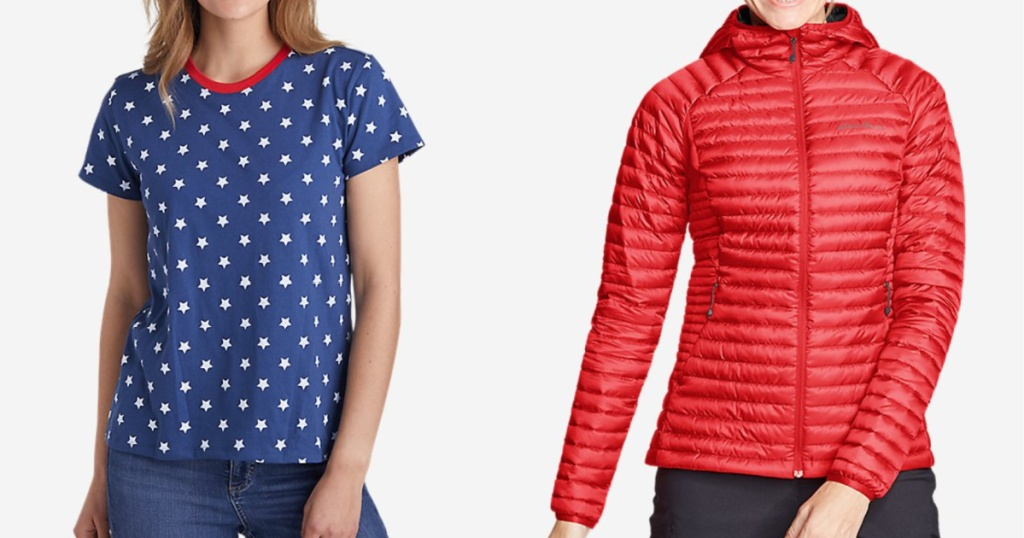 women wearing red, white and blue star tee and a bright orange packable down coat