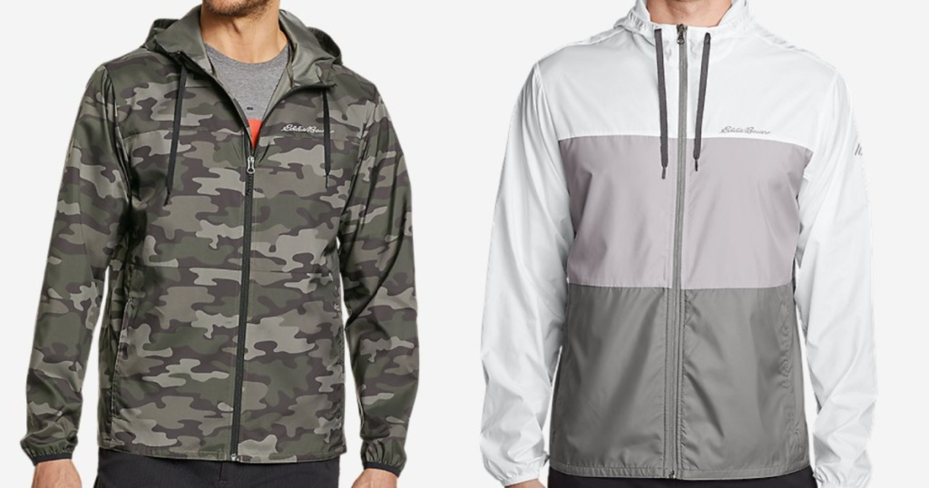 2 men wearing eddie bauer lightweight rain jackets with hoods