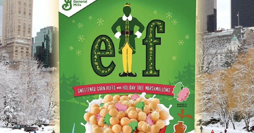 box of Elf holiday cereal and outdoor ice skating in background