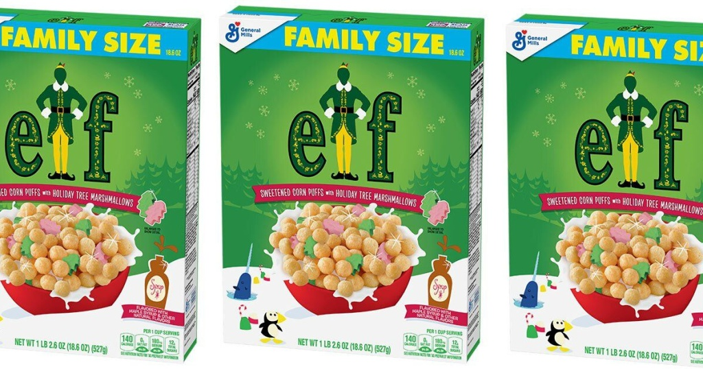 three boxes of Elf holiday cereal