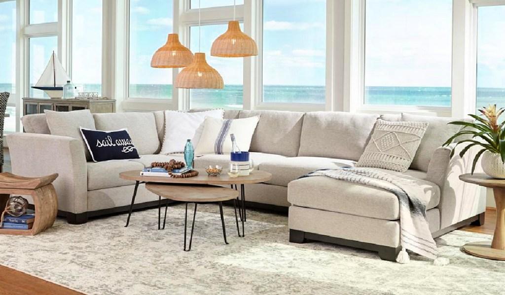 "beach house with an Elliot II 107"" 2-Piece Fabric Chaise Sectional Apartment Sofa"