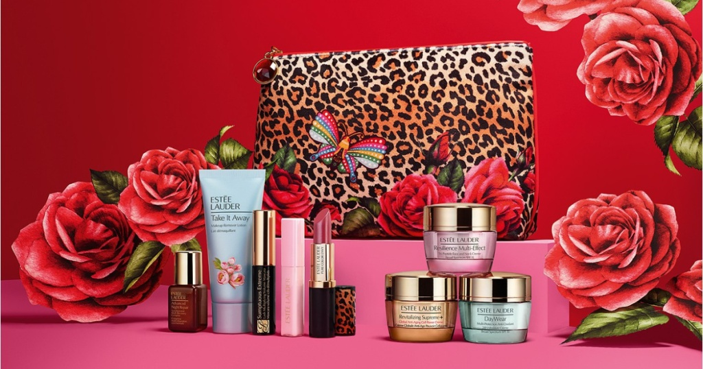 various makeup products, animal print bag, and roses with red background