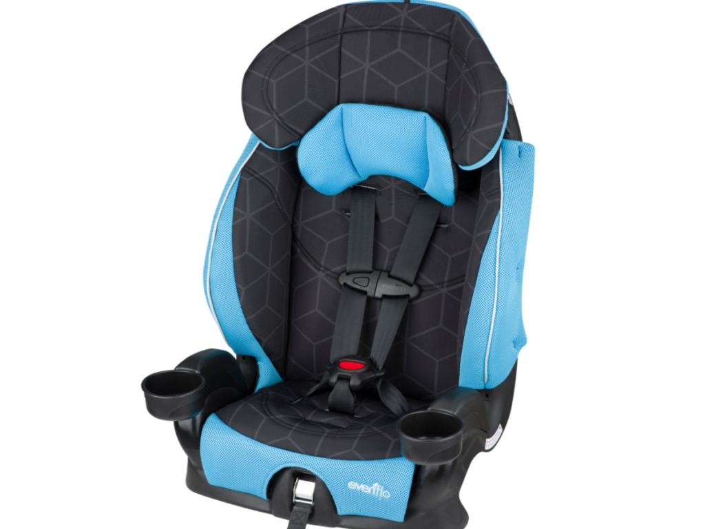 black and blue car seat