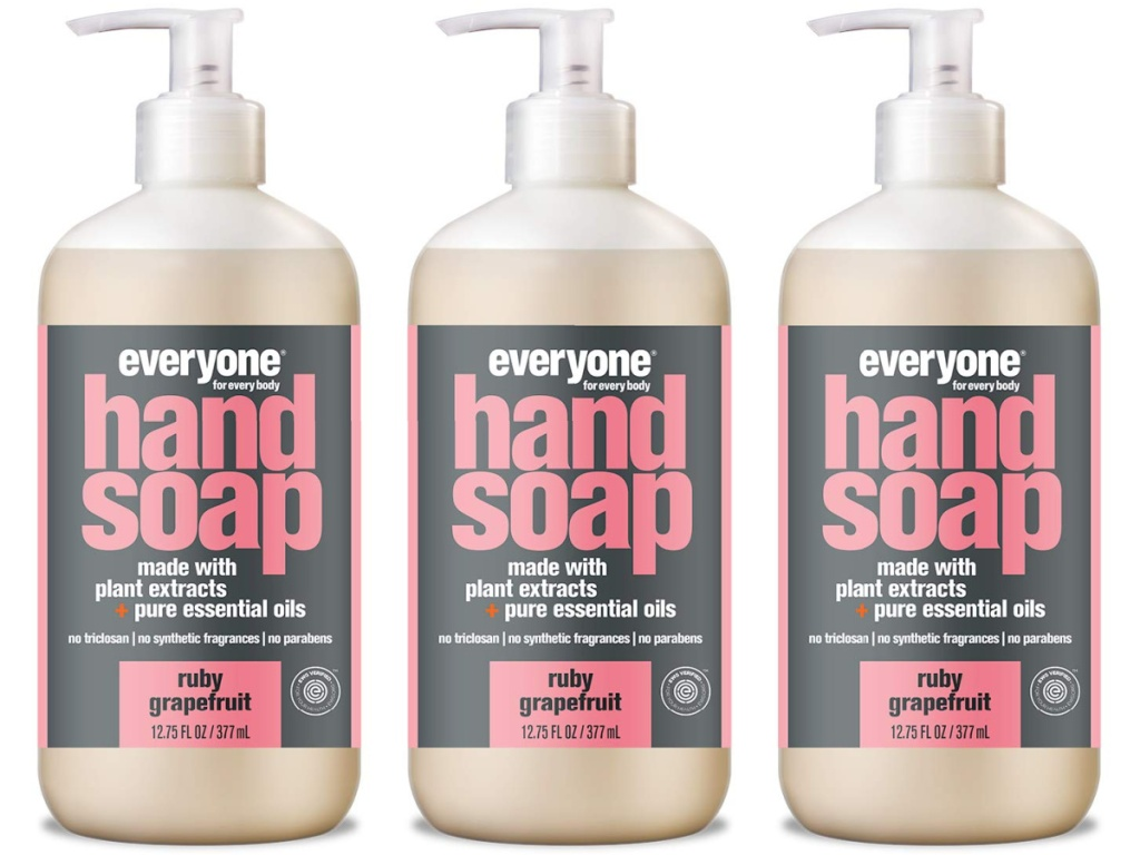3 bottles of Grapefruit Everyone Hand Soap lined up next to each other