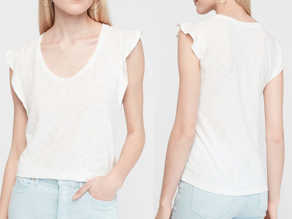 woman wearing a white flutter neck v-neck tee facing front and back