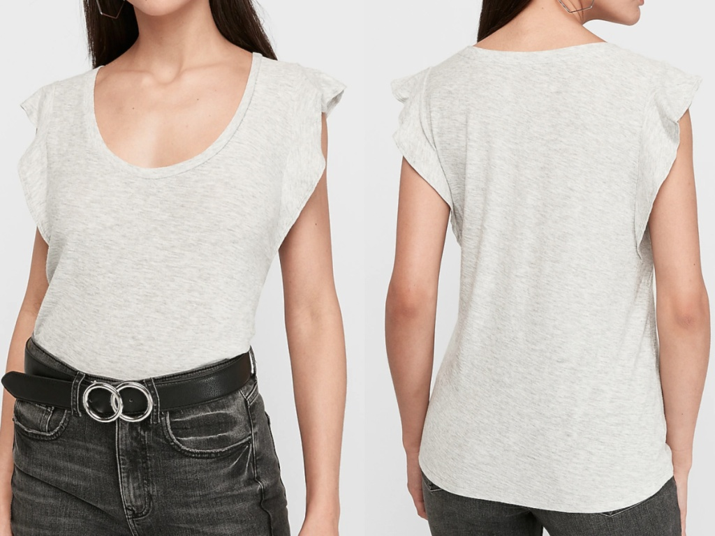 woman wearing a light grey flutter sleeve v-neck tee facing front and back