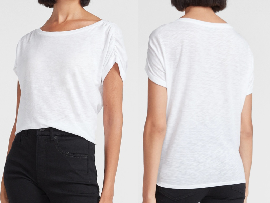 women wearing a white boatneck tee facing front and back