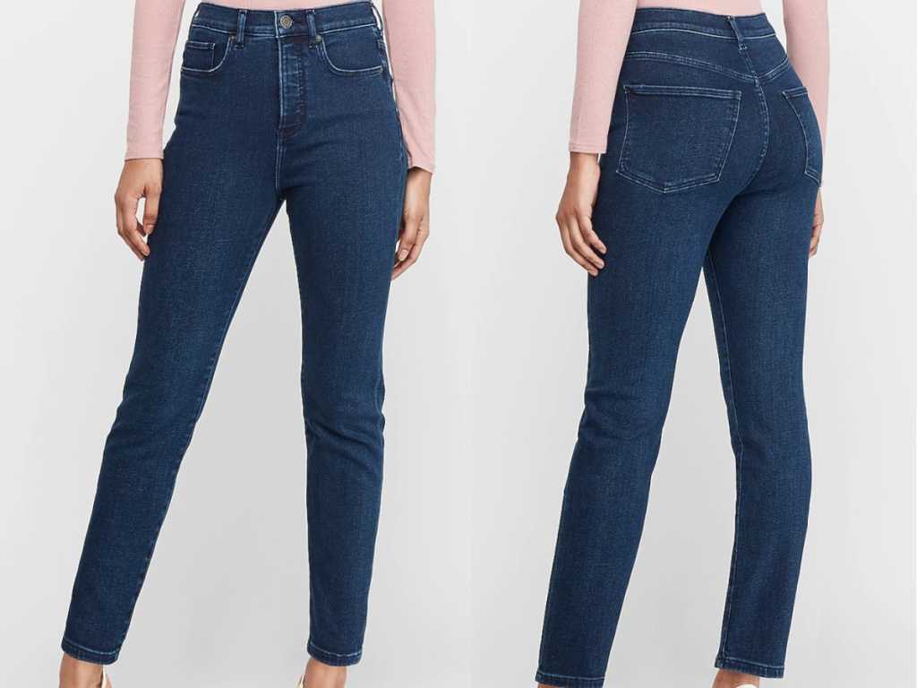 woman wearing dark wash skinny jeans facing front and back