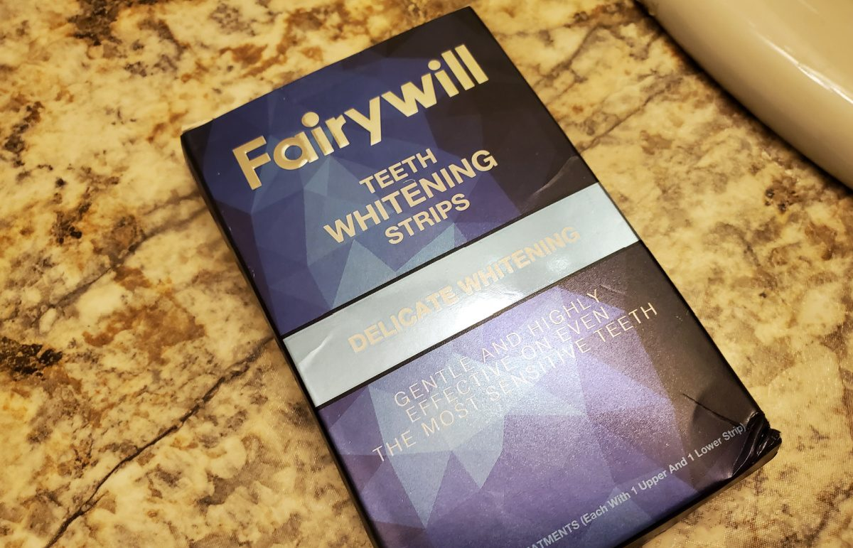 Fairywill Teeth Whitening Strips 28-count box on counter