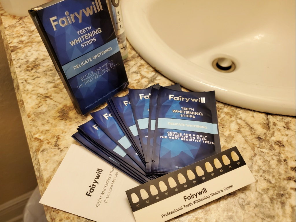 Fairywill Teeth Whitening Strips 28-count on counter