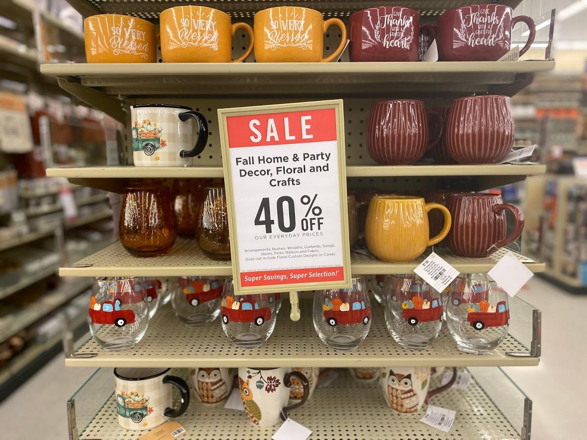 Fall themed drinkware on store shelves