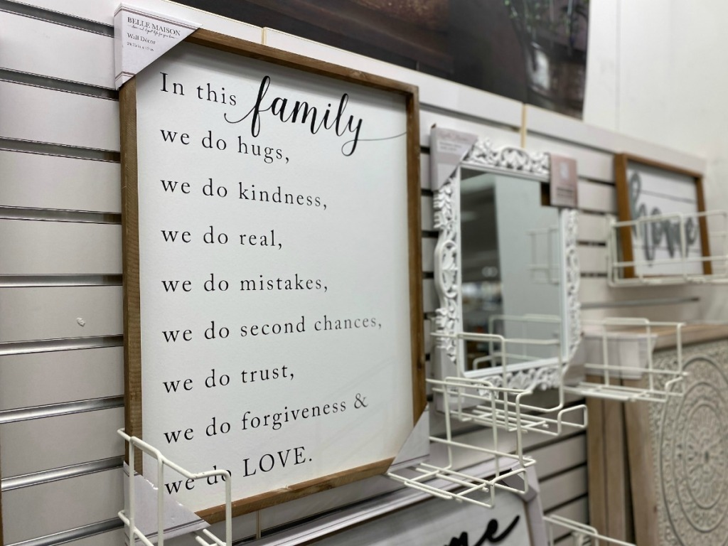 Family themed sign on display in-store