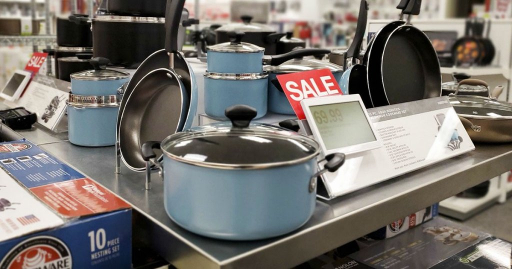 blue colored faberware cookware set on display at Kohl's
