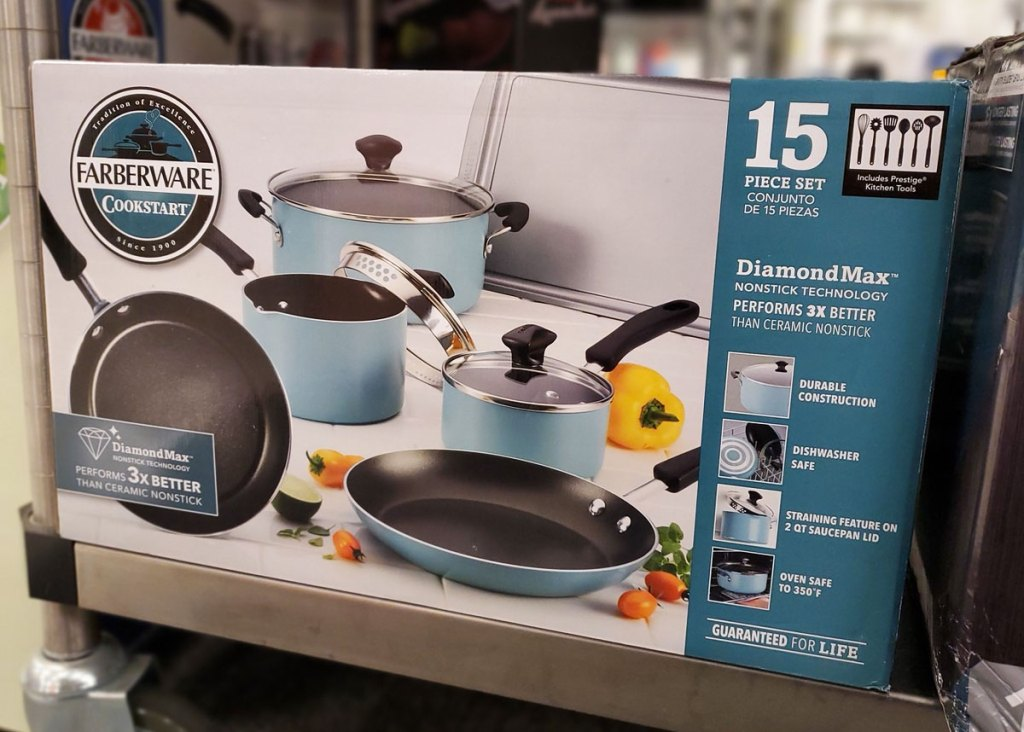 box of a faberware cookware set in blue on Kohl's shelf