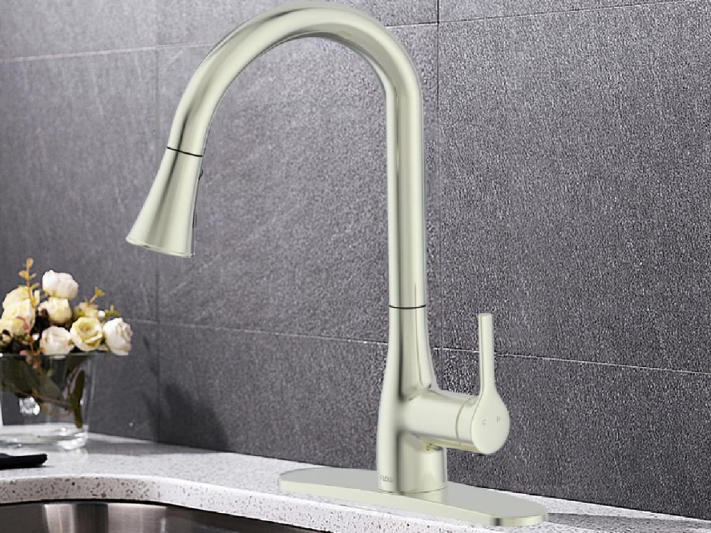 Flow brushed nickel faucet in a kitchen next to flowers