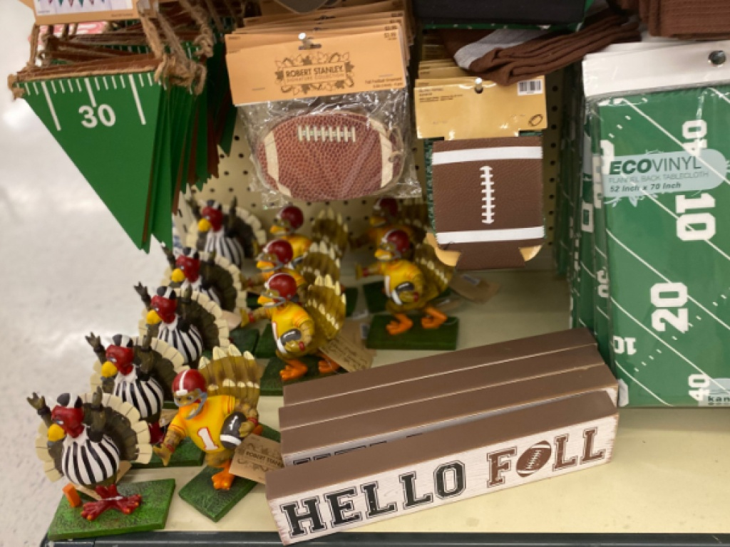 football themed decor in store