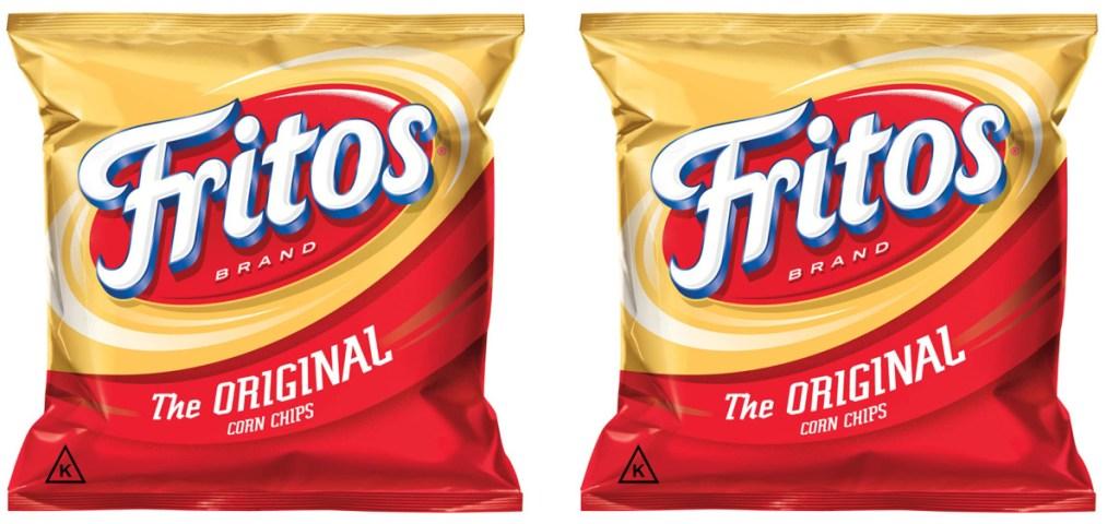 2 small bags of Frito Lay corn chips