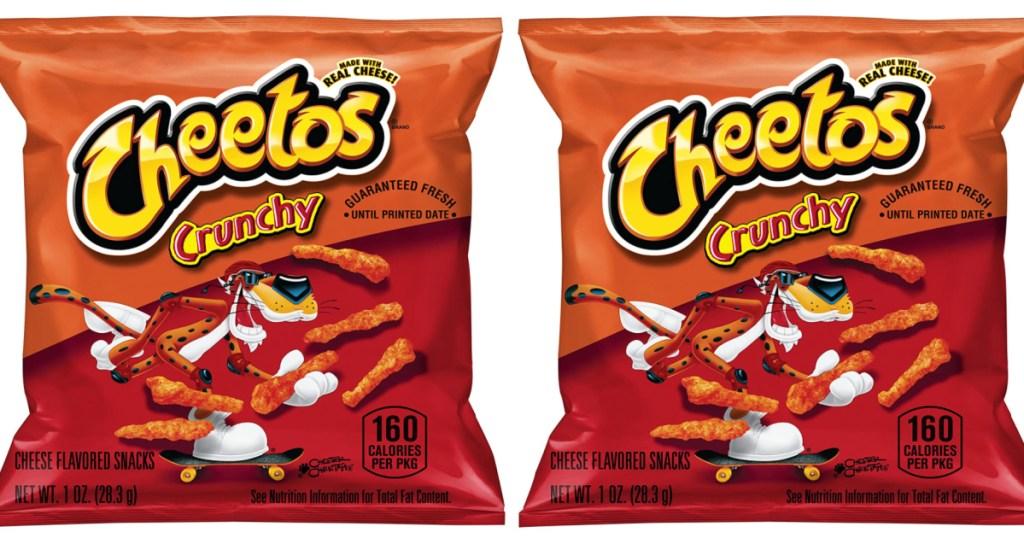 2 small snack bags of frito-lay cheetos