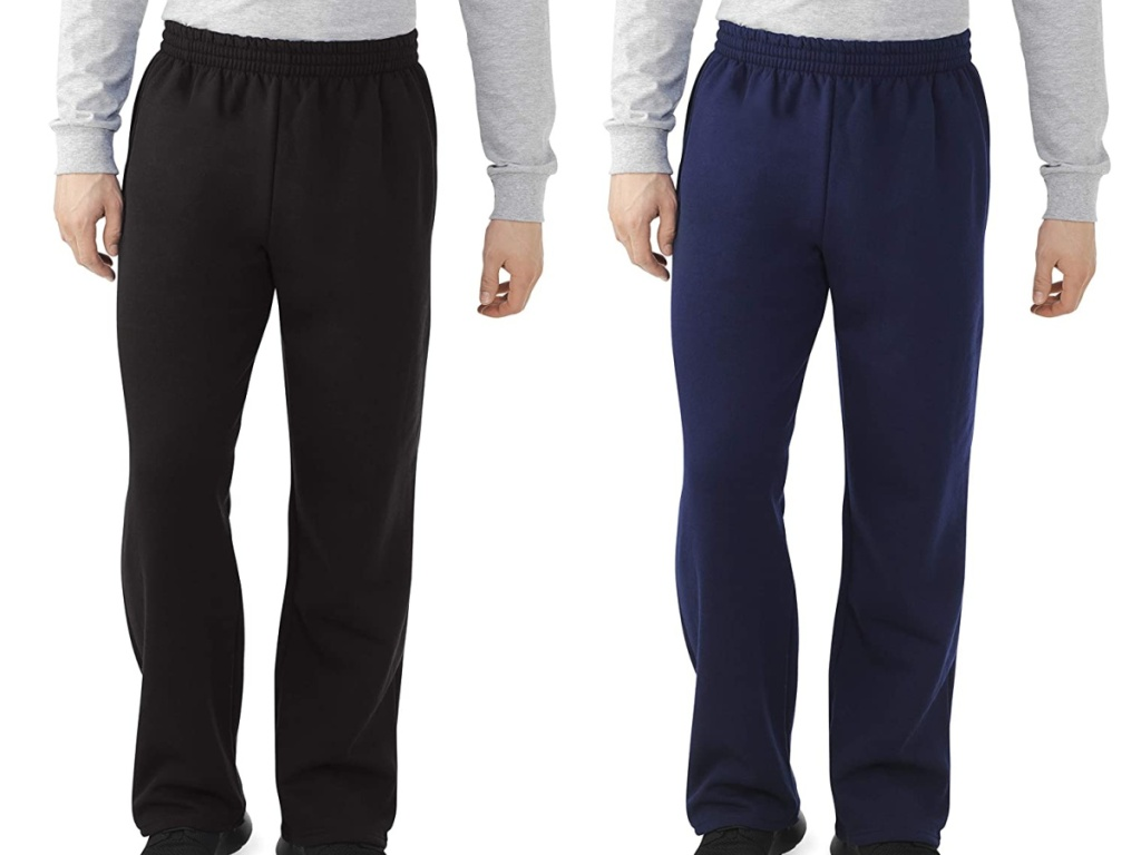 man in black sweatpants and man in navy sweatpants