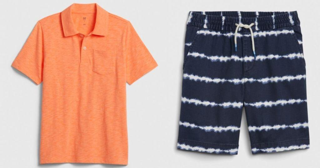 boy's polo shirt and shorts
