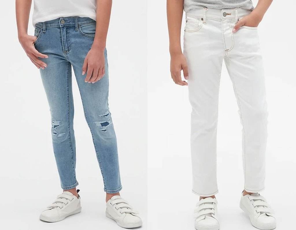 two boys modeling skinny jeans in light wash and solid white