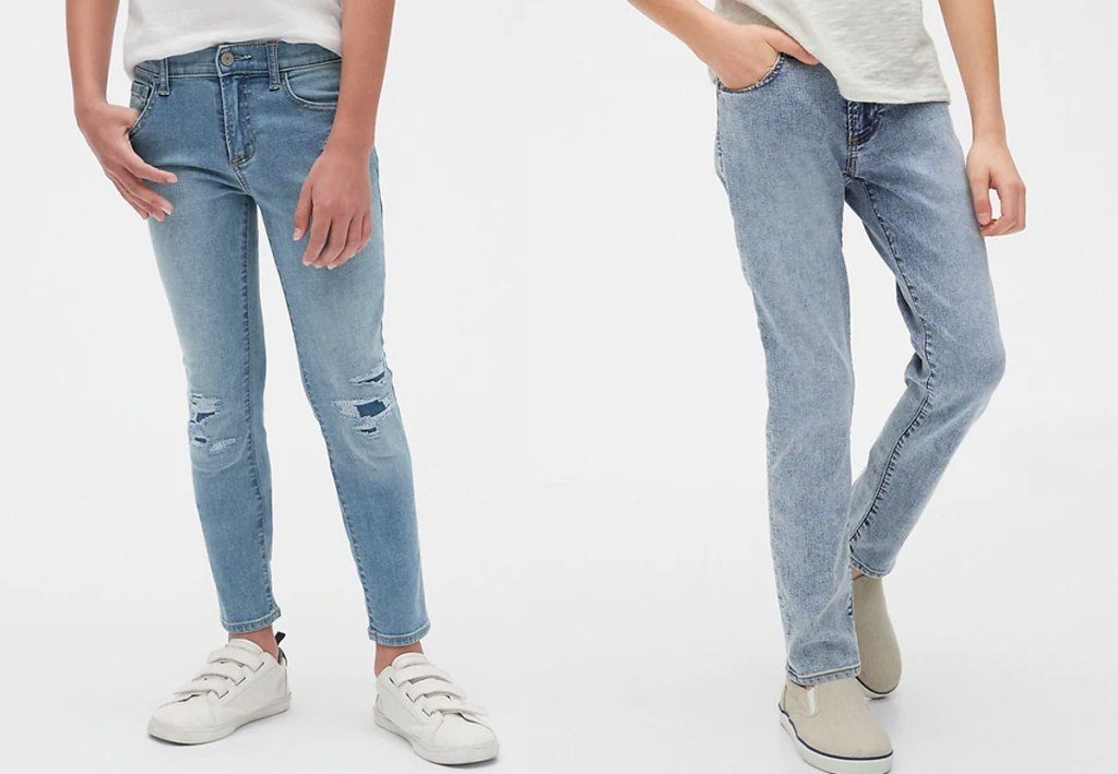 two boys modeling jeans in light wash colors
