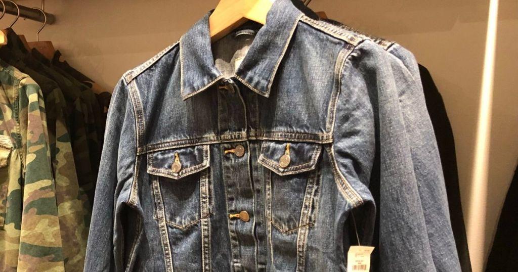 GAP denim jacket on a hanger