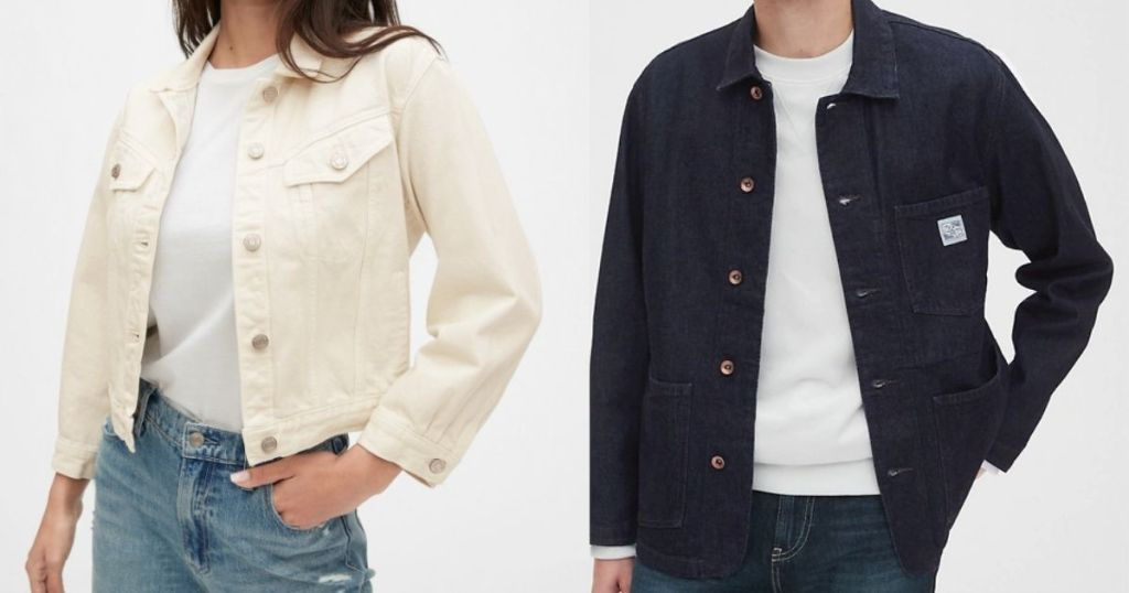 woman and a man wearing denim jackets