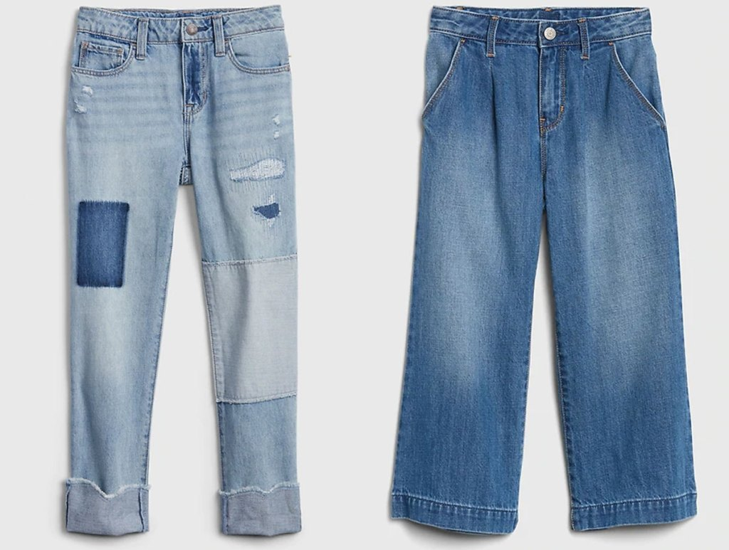 two pairs of gap girls jeans