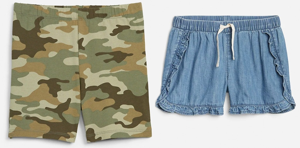 pair of camo print shorts and blue ruffle shorts