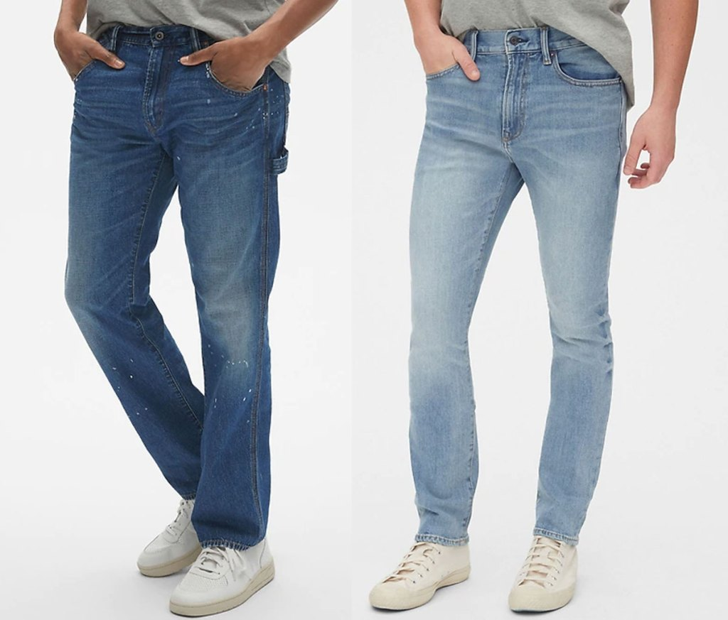 two men modeling two washes of skinny jeans