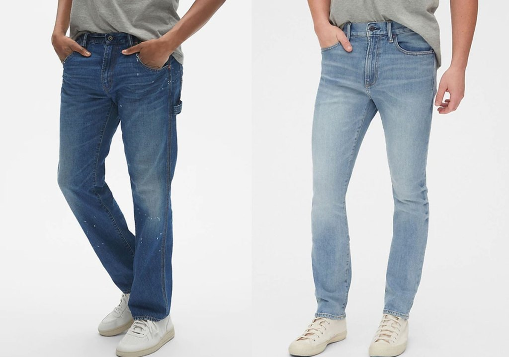 two men modeling skinny jeans in two different wash colors