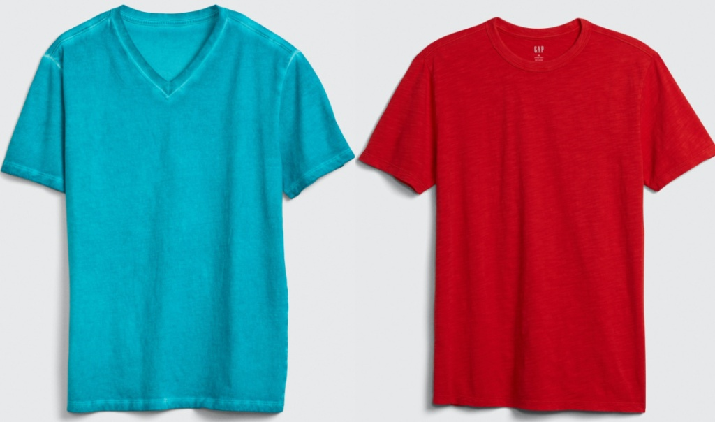 men's blue tee and men's red tee