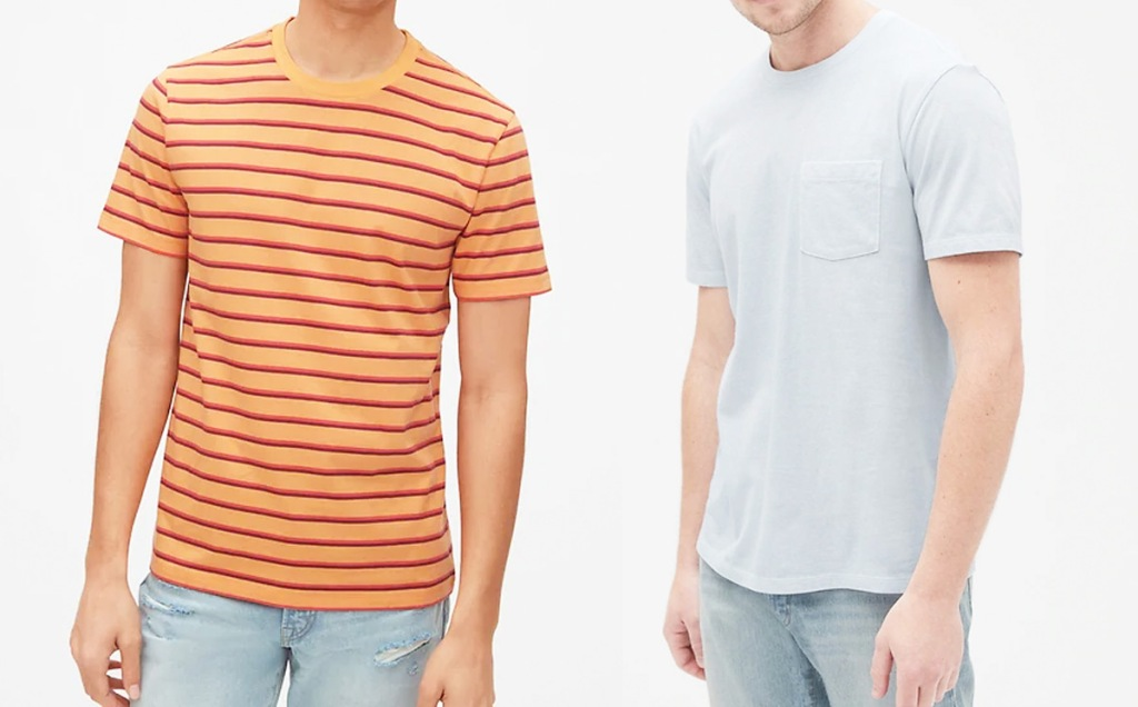 two men modeling t-shirts in orange stripes and light grey colors