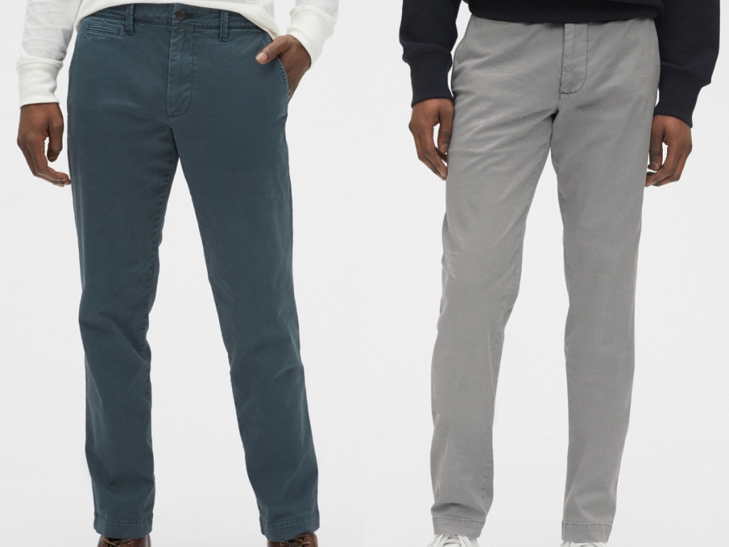 man in teal blue pants and man in gray pants