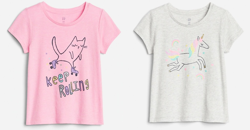 two toddler girls graphic tees with cats and unicorn prints