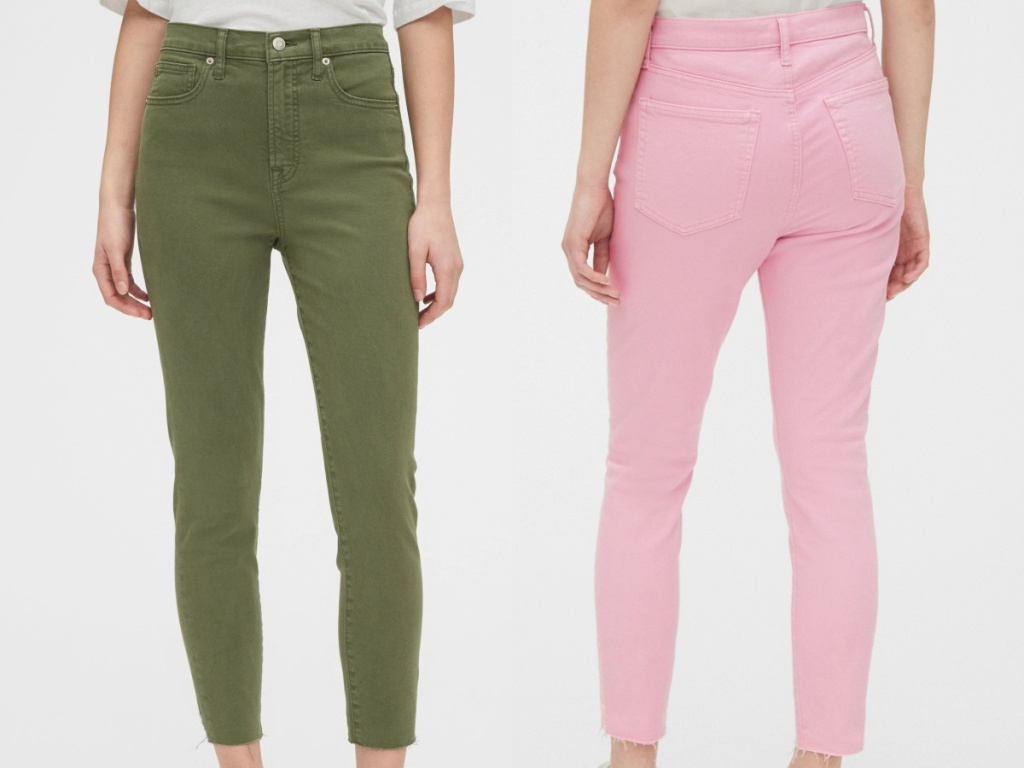 woman in green skinny jeans and woman in pink skinny jeans