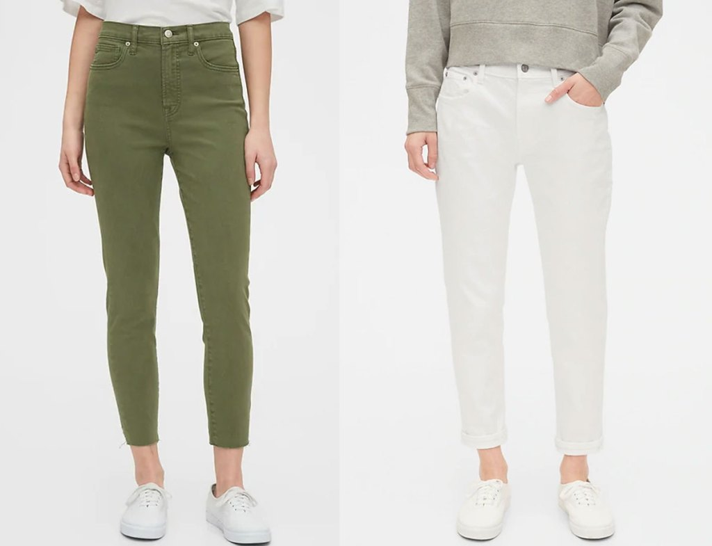 two women modeling ankle jeans in olive green and white colors
